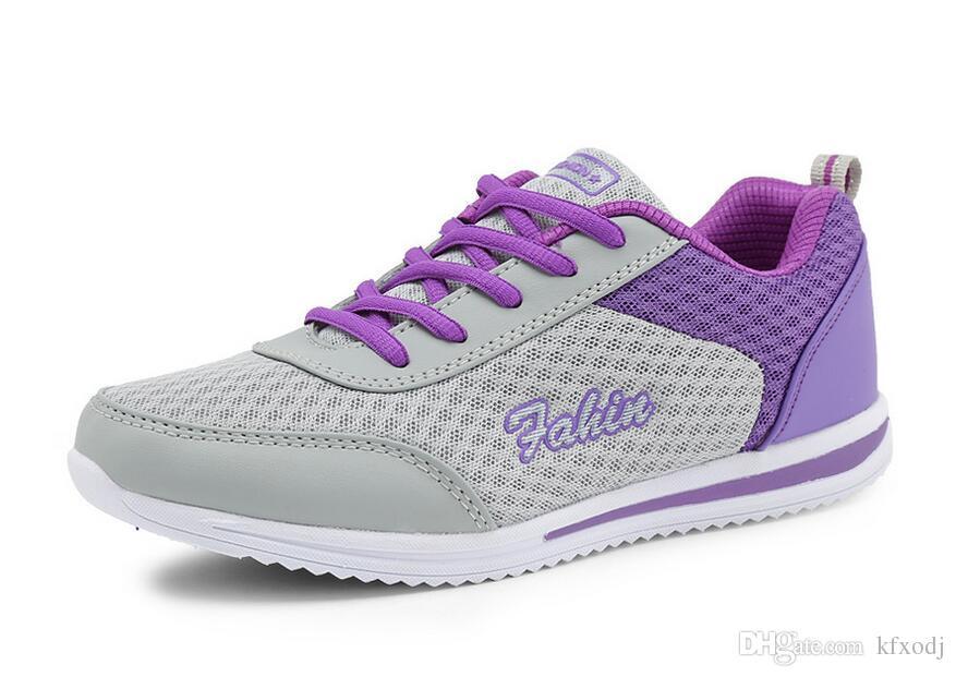 nouvelles femmes à semelle plate pour les étudiants nets battant chaussures tissées chaussures de rembourrage respirant chaussures de sport léger livraison gratuite taille: 35-42