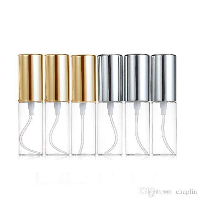 البسيطة الجميلة ميست واضح 5ML 1 / 6OZ البخاخة زجاج زجاجة رذاذ الملء عطر رائحة زجاجة فارغة W / الألومنيوم البخاخ الذهبية / الفضية