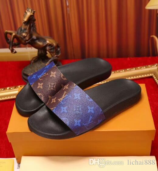 Diseñador de goma de la sandalia de la diapositiva Brocado floral de los hombres zapatilla Pantalones de chanclas Chanclas de las mujeres a rayas playa causal US6-11 # 036