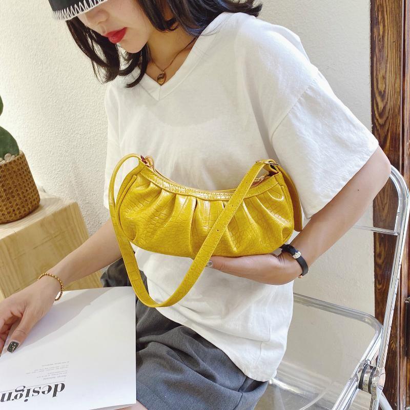 Mulheres Sacos Folds pequeno Shoulder Bag Bolsas Ladies PU Couro Moda de compras Bolsas Mensageiro Sac A principal Femme
