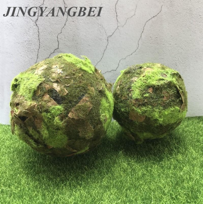 Artificial green Moss ball tree bark Stones Grass Bryophytes Plant Pot Bonsai Home Garden Decoration DIY Potted