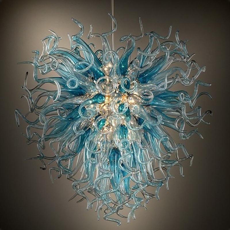 Lampadari moderni Blown Glass Chandelier Luci Lampadari illuminazione Antico Sala da pranzo Lampadari Blu Grigio luci di cristallo di trasporto