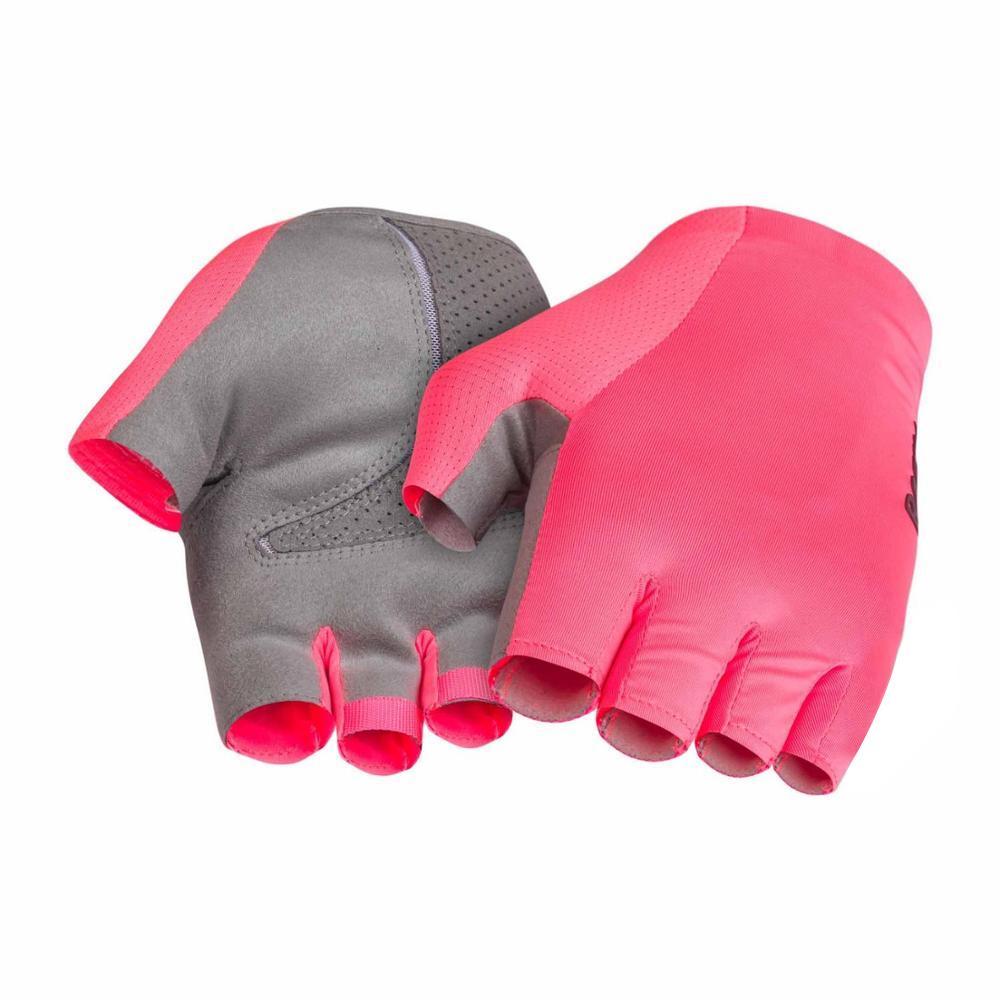 2019 NOUVEAUX GANTS PRO CYCLING TEAM gants de cyclisme de performance Elite gants de course de route haute vis rose et noir doigt demi