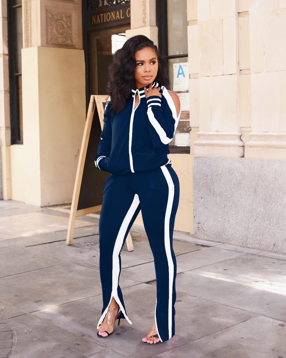 Plus Size casuale delle donne della tuta due pezzi set Cardigan jogging Femme laterale Bianco Giacche + Pantaloni Zipper Sportwear Autunno Inverno
