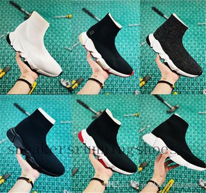 gündelik ayakkabı Runner ağır taban 2019 Tasarımcı kadın mens ayakkabı hız eğitmen Çorap ayakkabılar siyah beyaz mavi pembe parıltı erkek eğitmenler