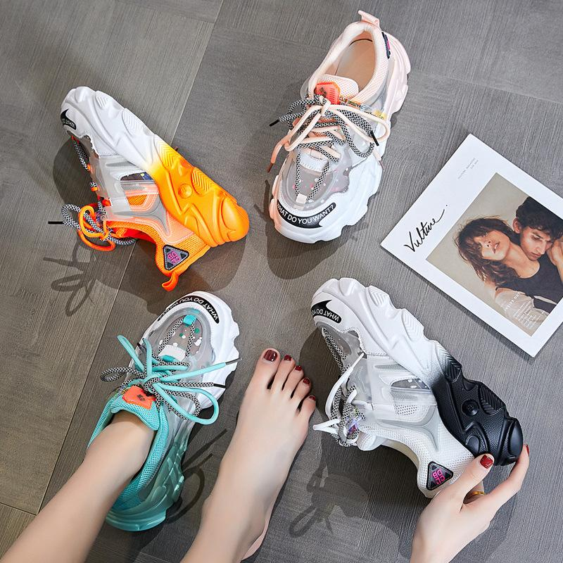 chaussures papa femmes de créateurs de mode 2020 nouvelle vague coréenne de chaussures arc-en-sauvages chaussures à fond épais respirant baskets en maille