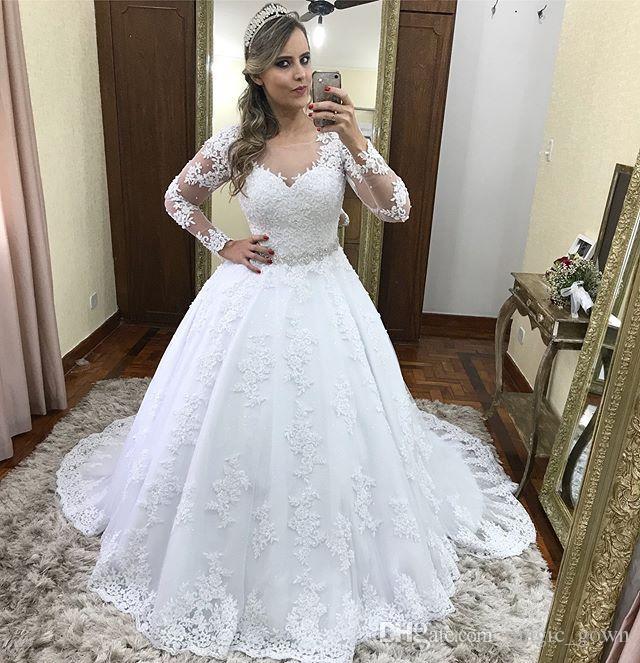 Plus Size A Linha Lace Vestidos de Casamento Sheer Neck Applique Longo Ilusão Mangas Tribunal Trem Vestido de Noiva Vestidos de Noiva vestido de novia