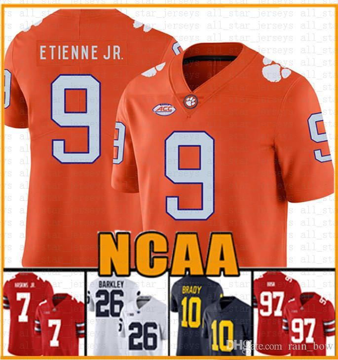 NCAA Clemson Tiger 16 Trevor Lawrence 9 Travis Etienne Jr. American Football Jersey 13 Tua THAYVAILOA 10 Tom Brady 26 SAQUON BARKLEY