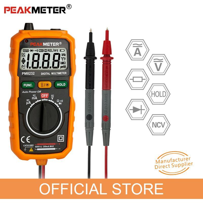 Официальный PEAKMETER новый горячая распродажа бесконтактные мини цифровой мультиметр DC напряжения переменного тока текущий тестер PM8232 амперметр мульти тестер