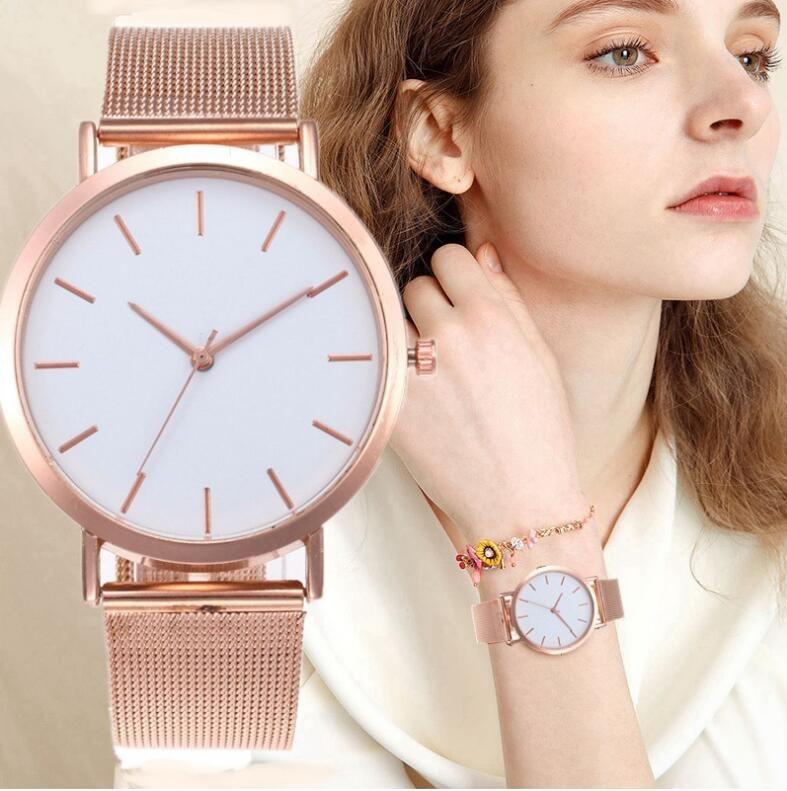 Женские часы розовое золото Ремешок Простые моды женщин наручные часы Elegent женские часы Женщины браслет Часы Mujer Часы Relogio Feminino WJ27