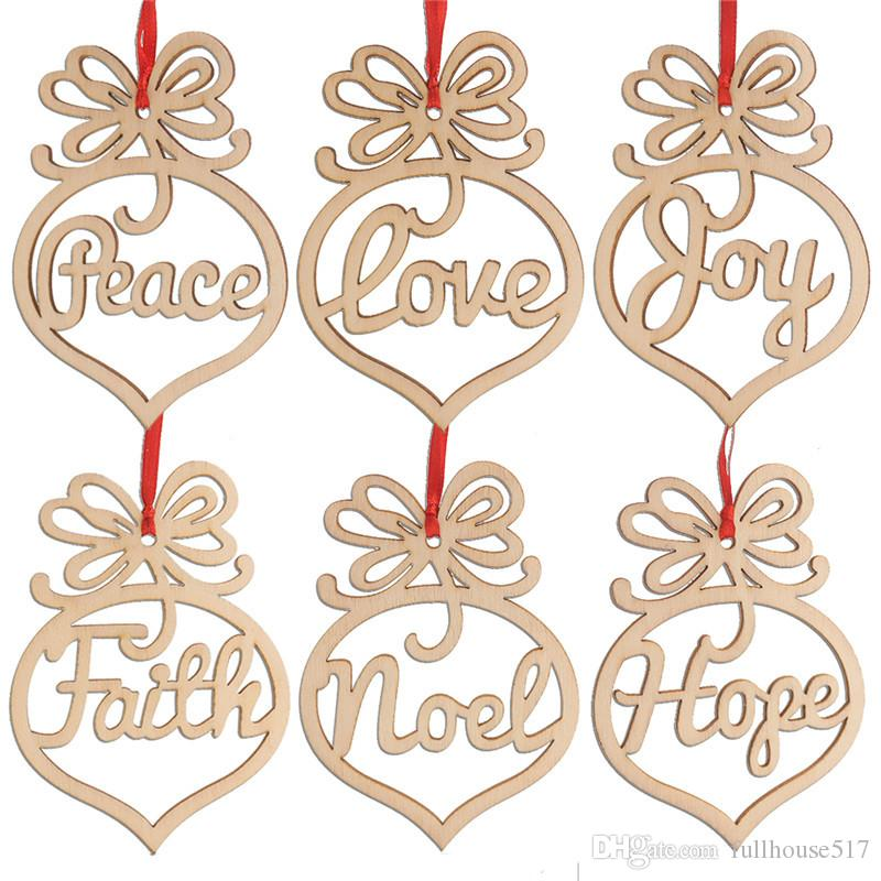 Carta de Navidad de la paz amor alegría la fe Noel madera esperanza Adorno de Navidad Decoraciones del árbol Festival Inicio Adornos colgantes regalo