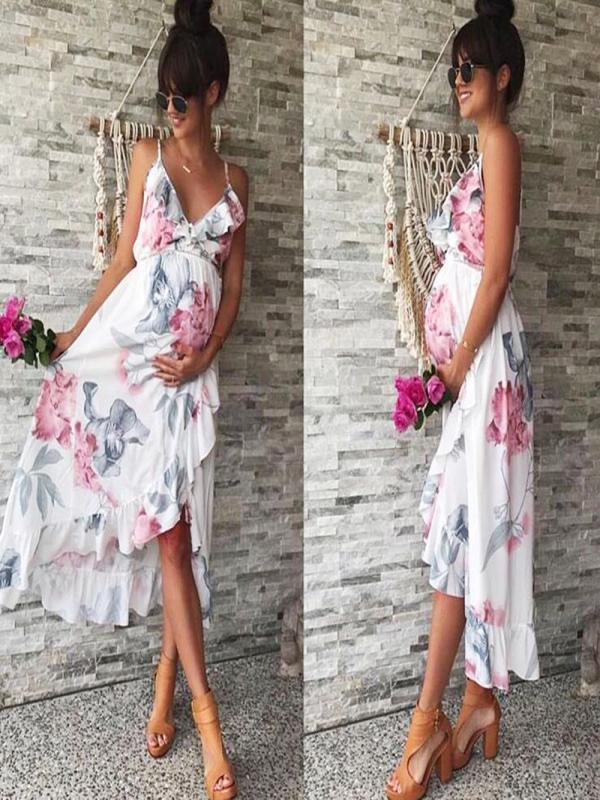 Fashion midi dress Women's Mother Casual Floral elegant dress Falbala Pregnant Dress For Maternity Clothes Vestidos De Mujer