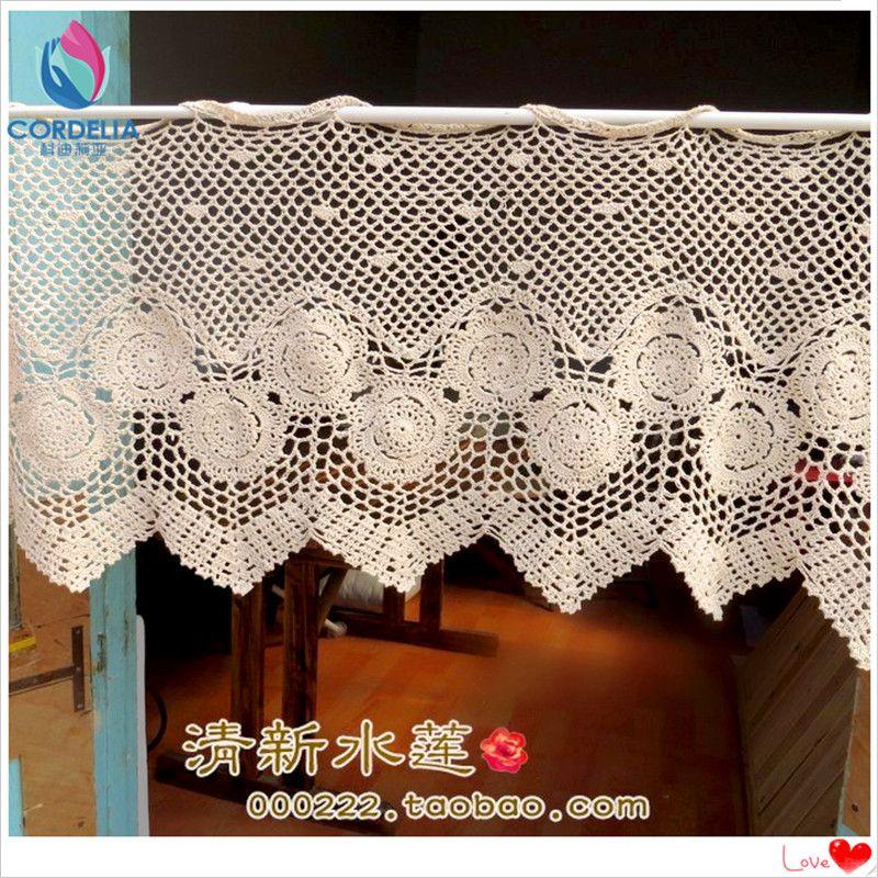 tenda caffè ritaglio bastone per tende crochet copertura finestra tende di pizzo crochet del cotone 2016 nuovo modo con il fiore per la decorazione domestica