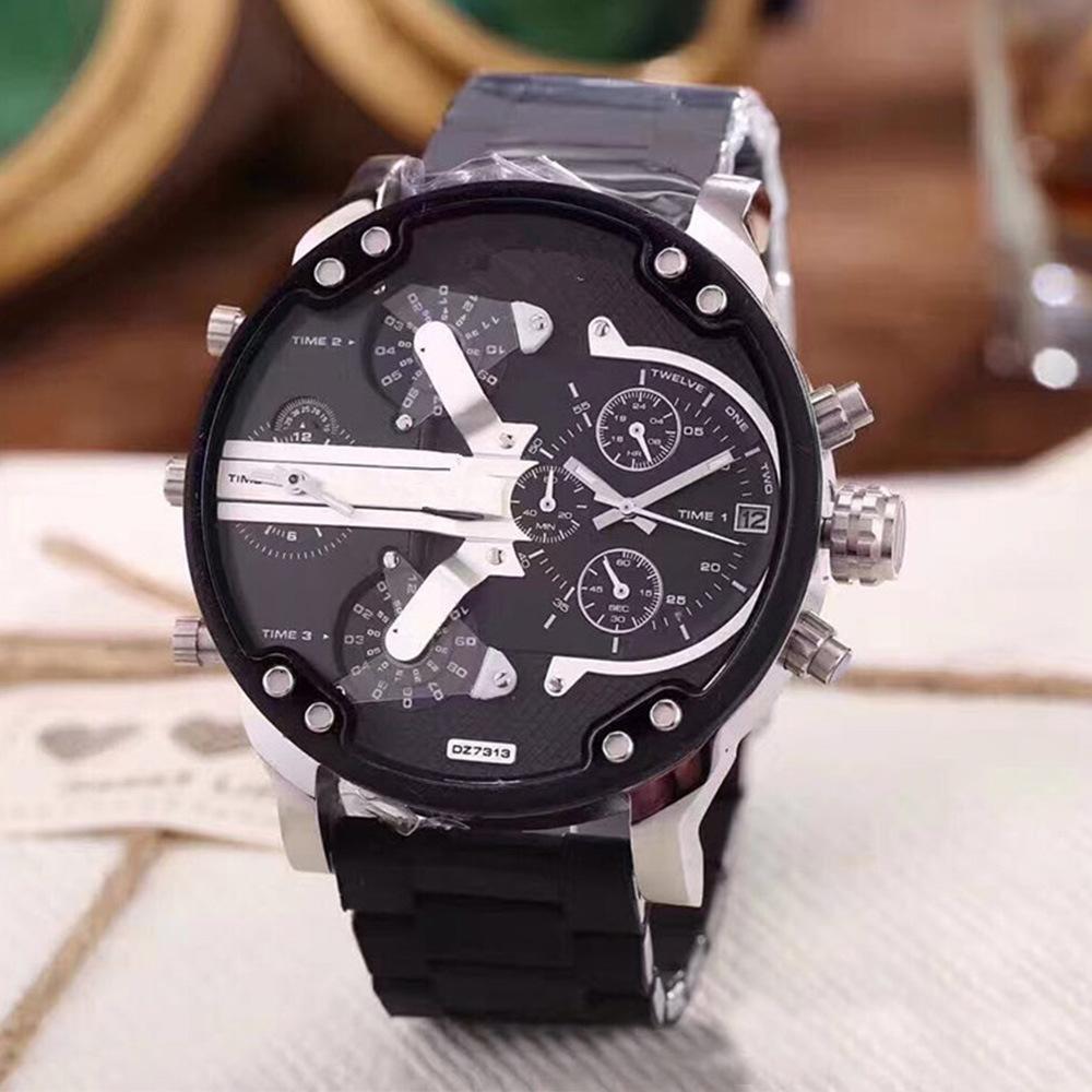 Watch Wrist Watch Man Will Clock Dial Double Core Red Black White Package Rubber Watchband Steel Bring Quartz Wrist Watch