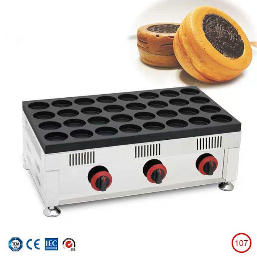 Ticari Gaz 32-Hole Kırmızı Fasulye Kek Makinesi Tayvan Tekerlek Kek Makinesi Yumurta Kek Burger Maker Gaz Snack Ekipmanları
