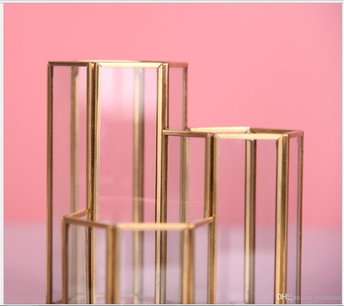 MAGT Portapenne Esagonale Stile Semplice Splendidamente Combinazione Esagonale Penna in Vetro Porta pennelli per Trucco Portapenne in Vetro Porta Pennelli
