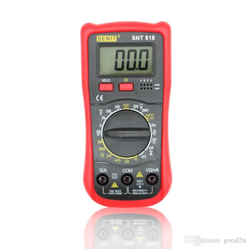 1999 dígitos Brand New Student Use Voltímetro Amperímetro Multitester Com Backlight LCD DMM Multímetro Digital SNT818