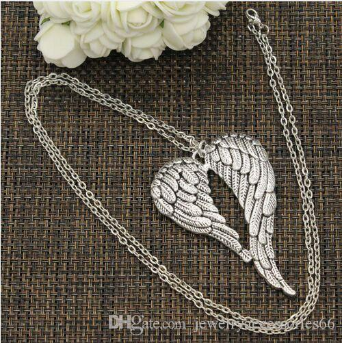 New Fashion Tibetan Silver Angel Wings Necklaces charms For Women Choker Collier Wicca Pagan Gothic Vintage Jewelry