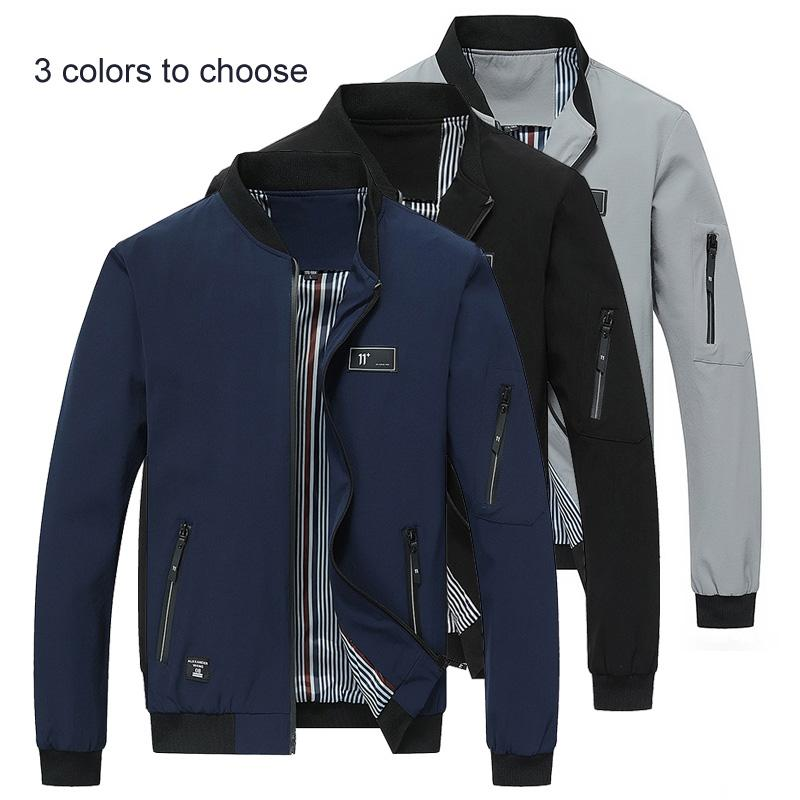 Mens Strand Collar Zip Up Casual Baseball Jacket Slim Fit Spring Coat Size 2019
