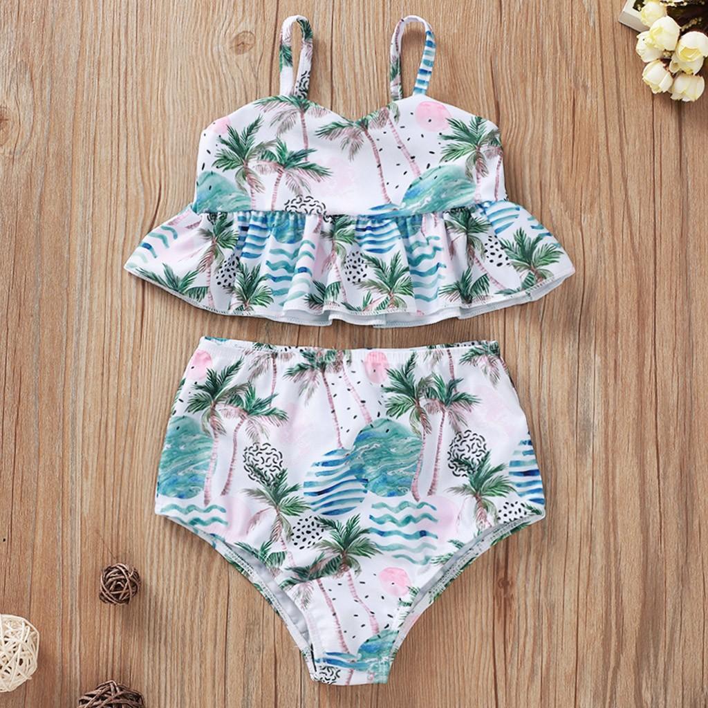 infantil maiô verão a nova árvore bebê suspender impressa biquíni swimwear maiô conjunto maiô 2.020 menina