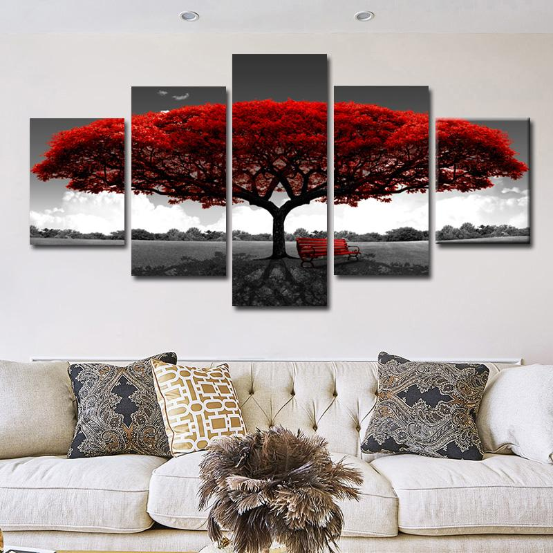 5 Panels Abstract Red Tree Oil Paintings Print On Canvas Posters And Prints Landscape Wall Art Pictures Home Wall Decor No Frame
