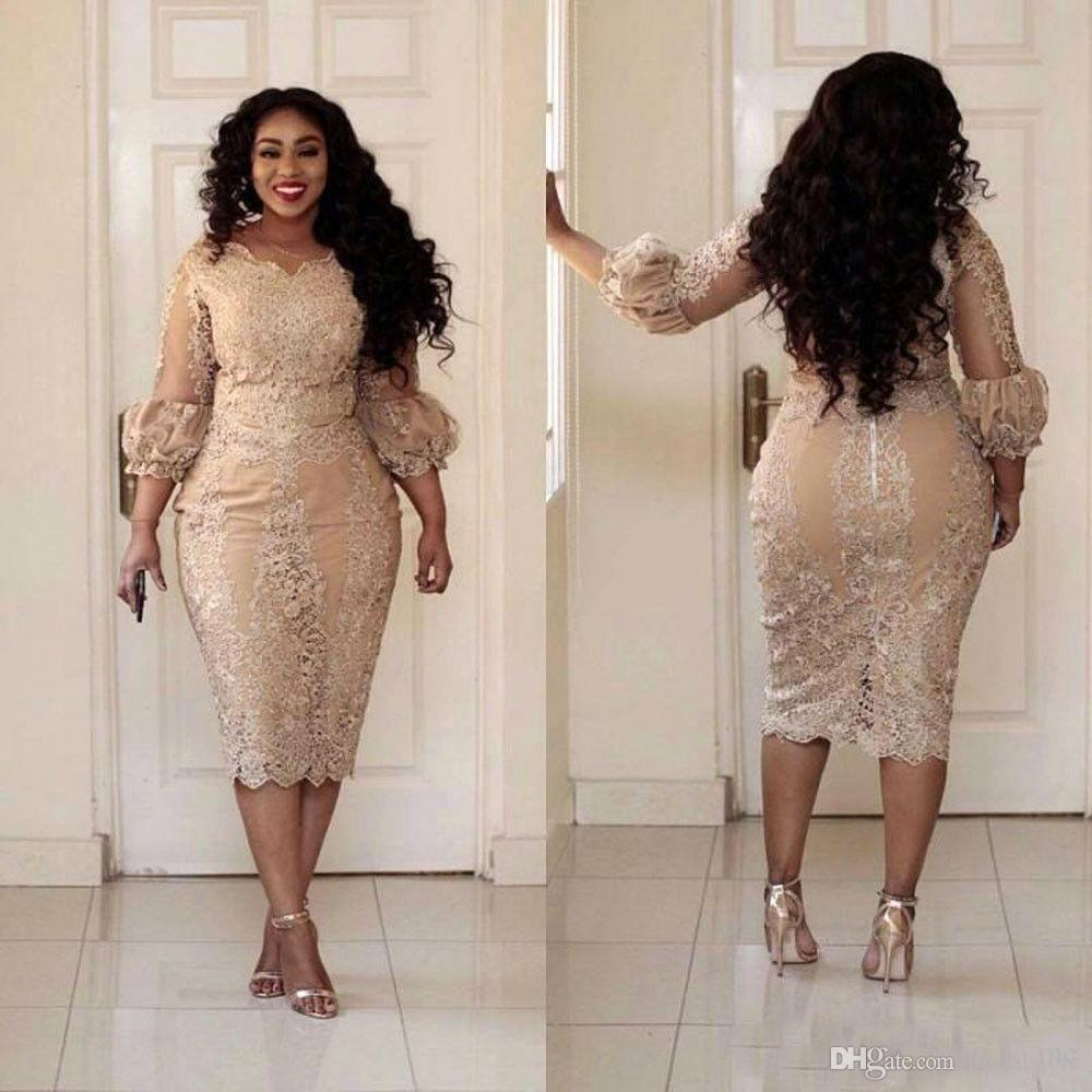 Elegant Tea Length Champagne Plus Size Mother Of The Bride Dresses With Poet Sleeves African Groom Mom Evening Skirts For Outdoor Wedding