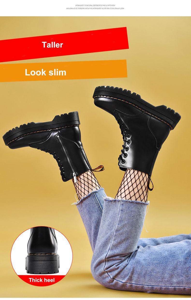 Grandi dimensioni scarpe stivali moda donna stivali di pelle tacco spessi Design classico di avvio della piattaforma per le donne C251
