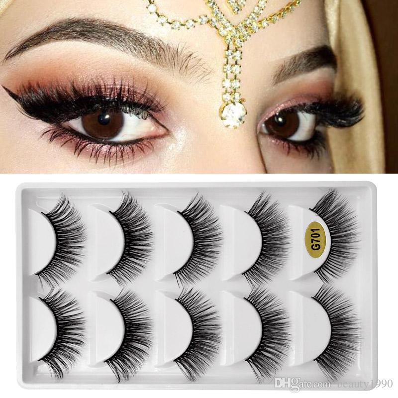 3D Mink False EyeLashes Natural Long Plastic Black Cotton Full Strip Fake Eye Lashes For Party Cosmetic Make Up Tool With Original Box G700