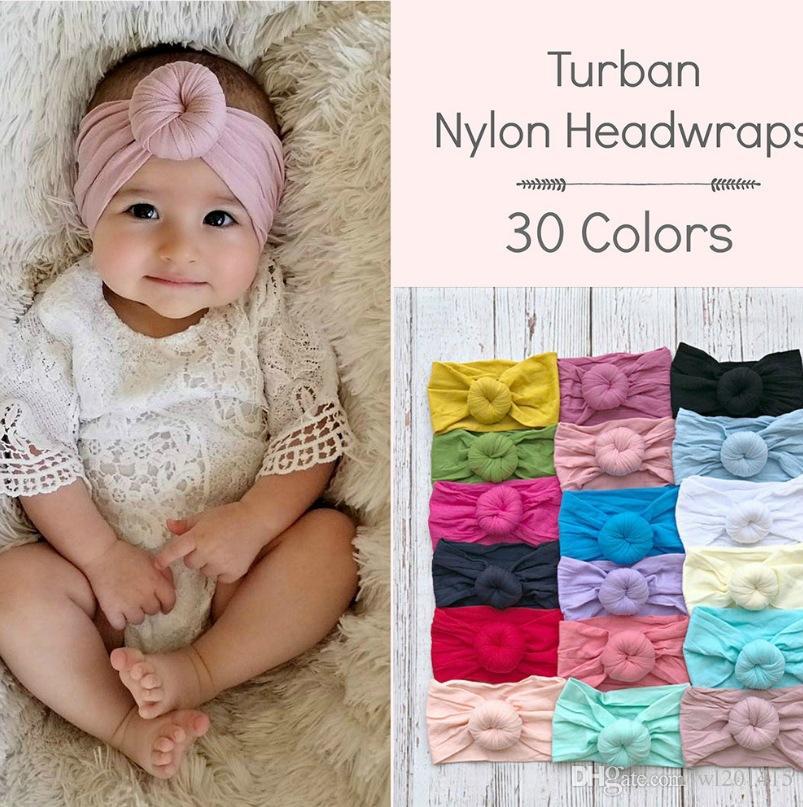 Venda del bebé recién nacido del bebé de las vendas del turbante Accesorios para el cabello del niño de nylon de algodón Cinta de cabeza de Headwrap Scrunchies lindo KWAII suaves