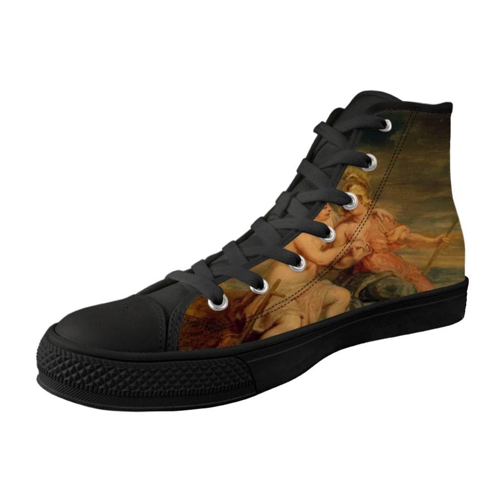Vintage Style uomini scarpe High Top tela nera vulcanizzata scarpe Per Maschio Lace-up Sneakers Mito Pittura Stampa Peter Paul Rubens