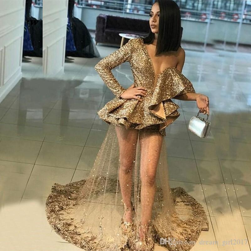 Maniche lunghe Ruffles Tulle Appliques del partito delle donne puro sexy dei Sequins dell'oro Prom Dress singolo vestiti da sera di spettacolo abiti