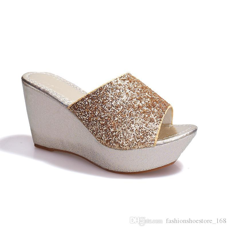 Ciabatte con lacci da donna con paillettes e tacco alto Pantofole da donna con lacci e ciondoli con paillettes per donna