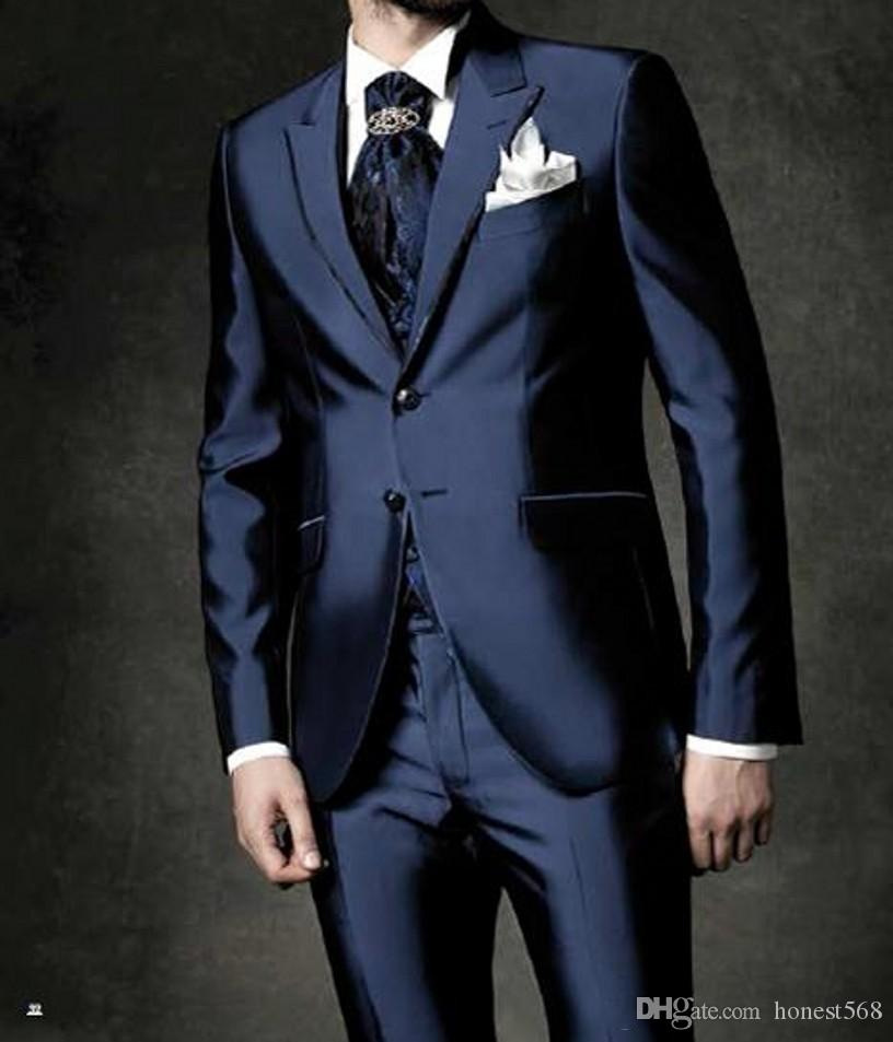 Bello due bottoni Groomsmen Peak Risvolto Smoking dello sposo Abiti da uomo Matrimonio / Prom / Dinner Best Best Blazer (Jacket + Pants + Tie + Vest) A117