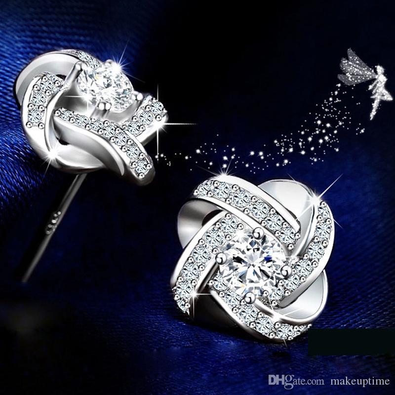 فضة كريستال أقراط للنساء الأزياء الفاخرة زركون معبد حلق الزفاف الإكسسوار مجوهرات