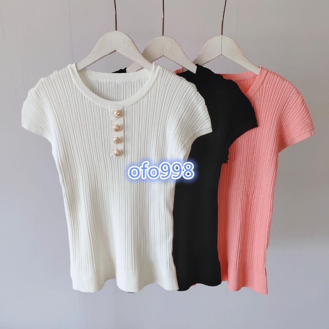 Yüksek sonuna kazak üst Düğme bluz gömlek tişört 2020 moda kadınlarla kısa kollu tişört yaka Katı renk örme womens girls