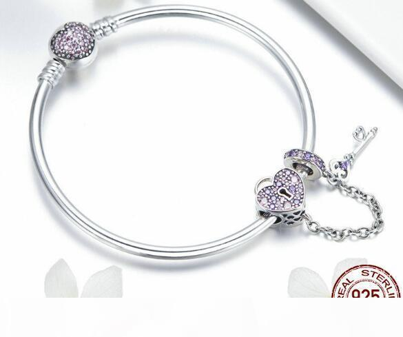 SPC6 (With Box) Hot Sale 100% 925 Sterling Silver Lucky Hamsa Fatima Hand Chain Link Bracelets for Women Silver Jewelry