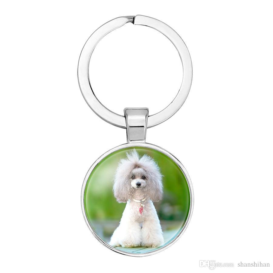 2019 new fashion creative hanging keychain jewelry car bag pendant cute dog animal time gemstone glass key ring