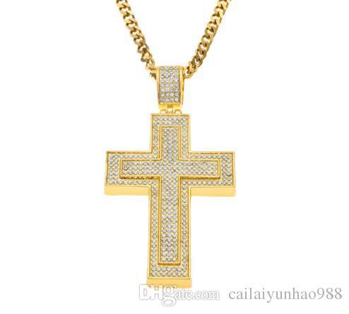 14 K Banhado A Ouro American European indústria pesada hip hop popular diamante cruz pingente de Água diamante colar de cruz dupla