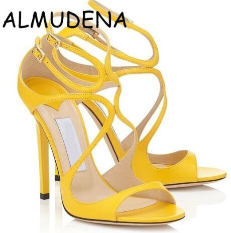 Vendita calda-2019 scarpe con il cinturino Lance partito delle donne sandali in pelle Metallic Gold Woman Aprire ritagli Buckle Tacchi alti sandali gladiatore delle donne