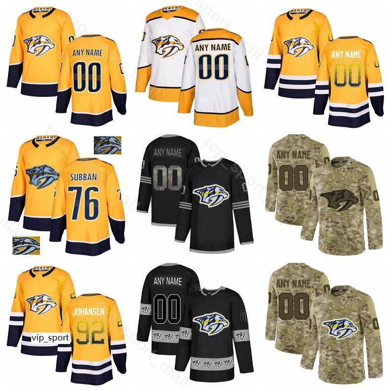 Hockey sobre hielo Ryan Ellis Jersey Nashville Predators PK Subban Craig Smith Ryan Johansen Mattias Ekholm Colton Sissons Fisher Diamond Personalizado