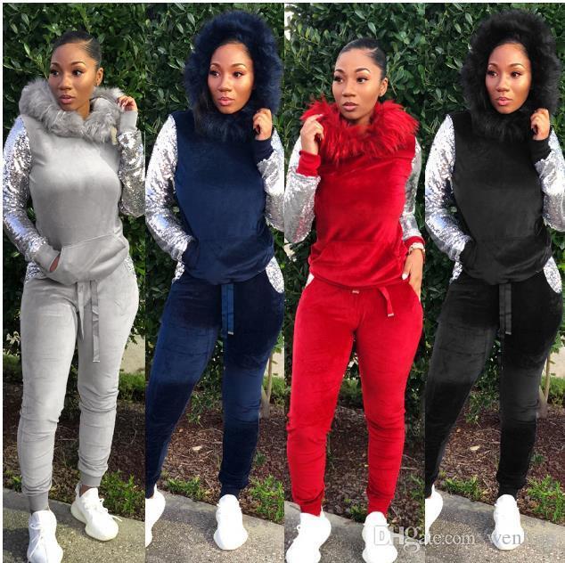 HOT Women's Clothing style sweat shirt Print tracksuit women Long Pants Pullover Tops Womens set Women Sport Suits
