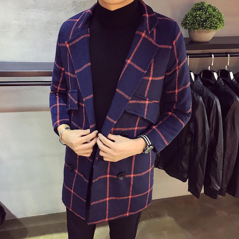 Casual para hombre otoño invierno Tramo chaquetas delgado de la manera de la tela escocesa doble de pecho abrigo de gama alta de lana larga capa de la chaqueta masculina