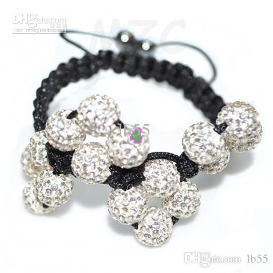 Meilleur 10mm blanc bracelet de perles de boule de cristal strass. Livraison gratuite Disco en gros.
