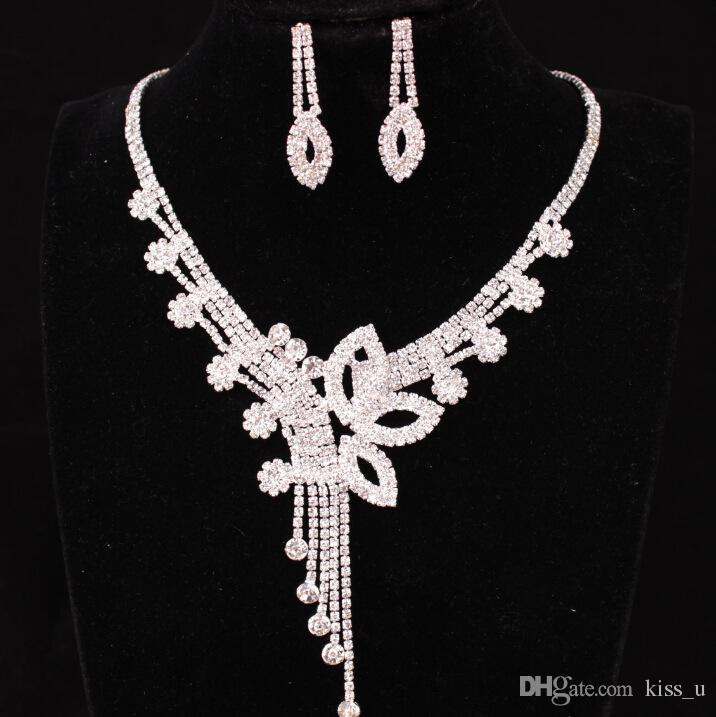 8 색 새로운 크리스탈 웨딩 쥬얼리 세트 여성 실버 컬러 목걸이 긴 귀걸이 세트 드레스 액세서리 들러리