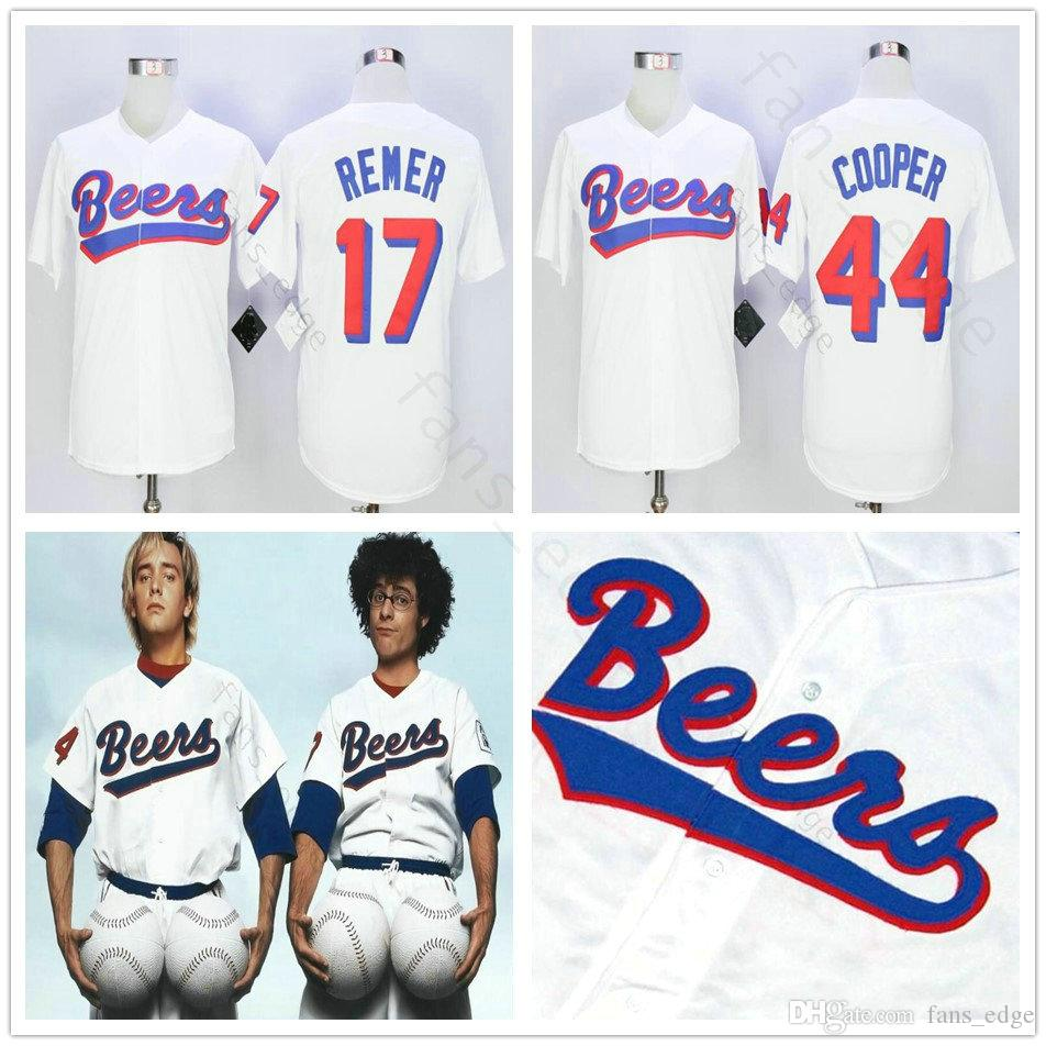 Mens The BASEketball Beers Movie #44 Joe COOP Cooper Button Down White retro 17 Doug Remer film Collection baseball stitched jerseys S-3XL