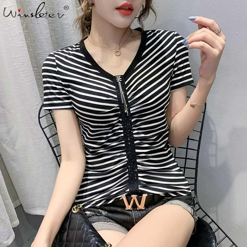 Summer European Clothes T-shirt Sexy V-Neck Diamonds Chic Drape Women Tops Ropa Mujer Short Sleeve All Match Tees 2020 T06303