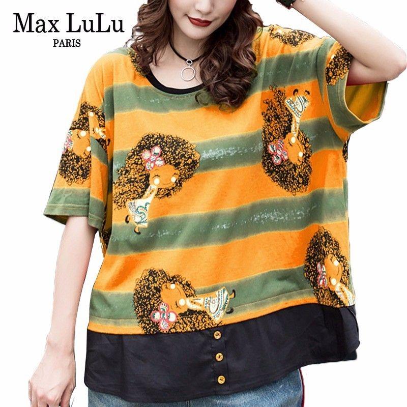 Max 2019 Summer Korean Fashion Ladies Punk Streetwear Womens Casual Striped T-shirt Funny Tops Cotton Tee Shirts