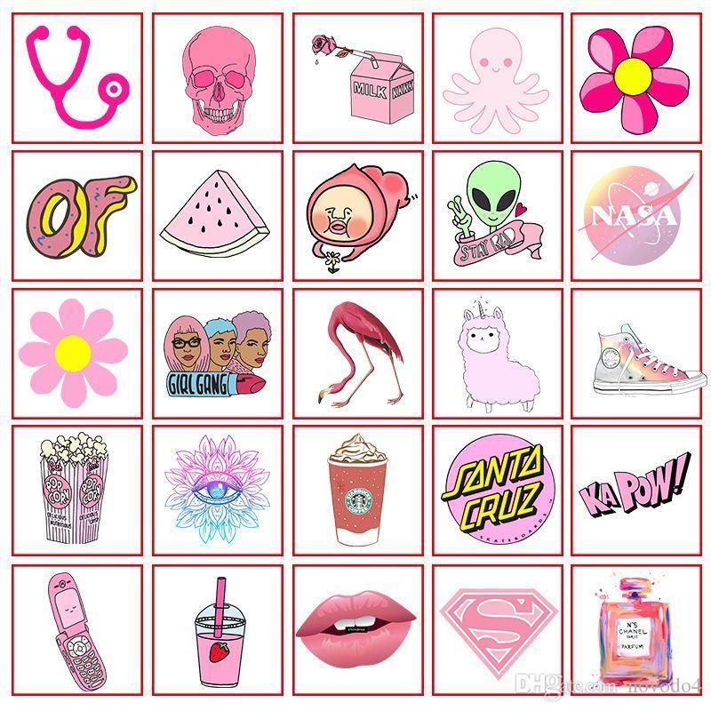 VSCO Mädchen Aufkleber wasserdichte rosafarbene Auto-Aufkleber für Kühlschrank Gepäckwagen Koffer Mode Laptop-Aufkleber 50pcs / 1 Opp Schiff frei