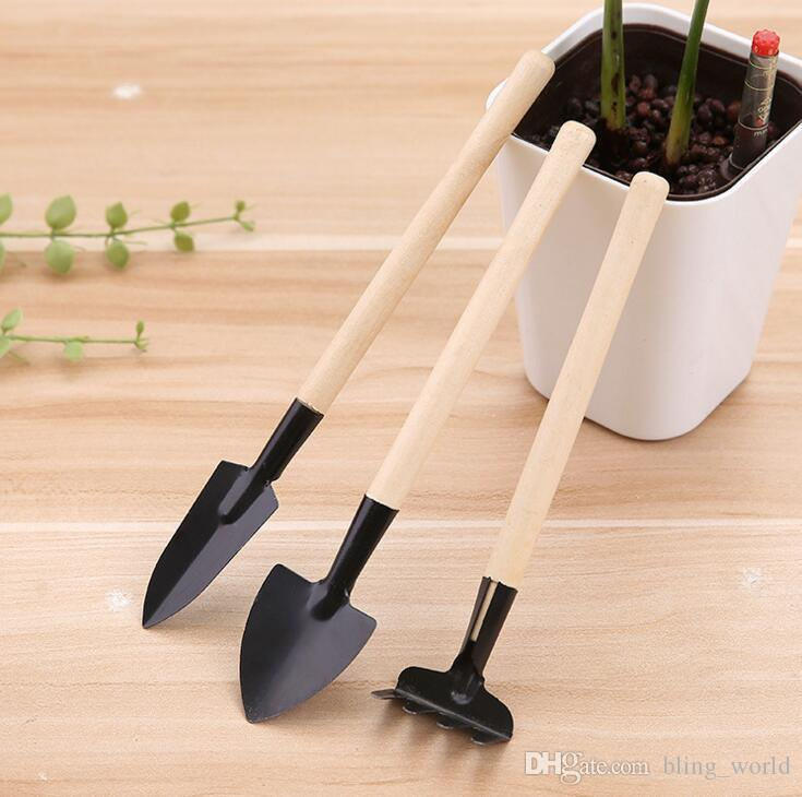 Mini Kit Spade Shovel Rake set Gardener pot culture tool group Children Compact Plant Garden Hand Wood Tool CLS295