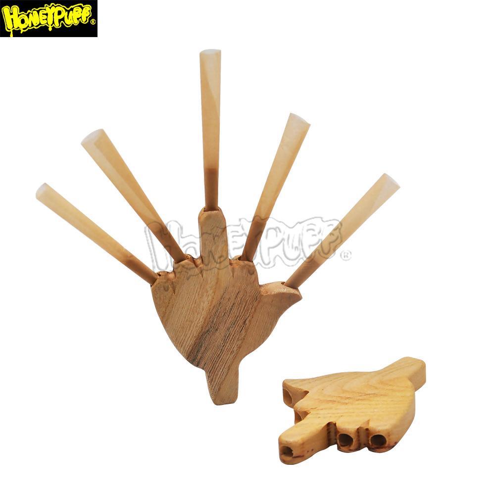 Palm Form WeaD Уровень пяти 5 Держатель для прикуривателя Cigaretting Cone Cone Держатель для курительного труба 8 мм Король для размера Roving Rolling Wood Tobacco Трубы
